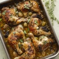 Roast chicken with olives, dates and capers