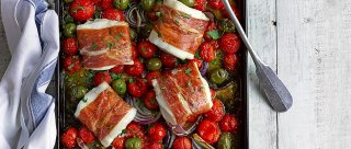 Cod, cherry tomato and green olive tray roast