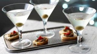 Dirty martini with olives